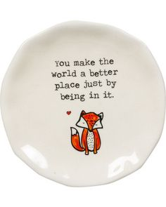Fox Trinket Dish. I'd love to do stuff like this on our plates. Who says we need to have boring dishes everyday?!?!
