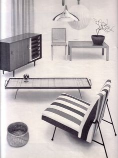 Milo Baughman; Iron-Framed Lounge Chair for Pacific Iron Works, 1950s.