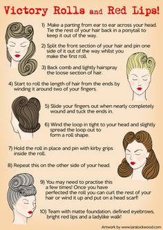 Victory Rolls and Red Lips - illustration by Lara Lockwood. - Looks Victory Rolls and Red Lips - illustration by Lara Lockwood. - Looks - Cabello Pin Up, Pelo Retro, Estilo Pin Up, Retro Hairstyles, Wedding Hairstyles, Party Hairstyles, Vintage Hairstyles Tutorial, 1940s Hairstyles For Long Hair, Pin Up Hairstyles