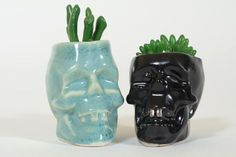 Perfect Mothers day gift. Skull and succulent plant, Skull planter & succulent, Succulent planters, Cute planter, Skull pot, Indoor planter, Outdoor planter, Ceramic planter. Black Skull Planter with succulent approx. size: H5 x W4.3 x D 5.5cm Aqua Skull Planter with succulent approx. size: H5.5 x W4.3 x D 5.5cm Planter sizes without the succulent plant. The Skull Planter was made using stoneware clay and glaze and has a drainage hole in the bottom. The skull planter was fired to ston...