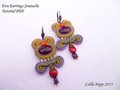 Instant download soutache earrings tutorial beginner by CsillaPapp Free Tutorials, Soutache Earrings, Macrame Tutorial, Earring Tutorial, Beaded Embroidery, Belly Button Rings, Polymer Clay, Unique Gifts, Beading