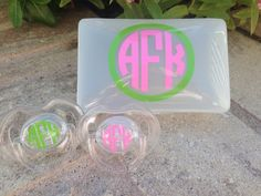Personalized Pacifier Case & 2 Pacifiers by TooCutePersonalized