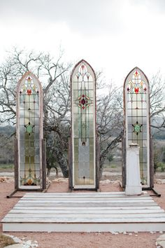 Great setting that goes well with the theme! - Outdoor Wedding Theme, stained glass at an outdoor chapel | #wedding