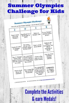 Free printable Olympic Games Challenge for Kids + TONS of Olympic-themed craft & activity ideas! Awesome to pair with books and do during the Summer Games with the family.