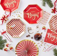 8 x or brillant feuille Joyeux Noël Assiettes en Papier Rouge Noël Plaques 23 Cm