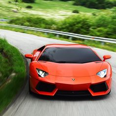 Deep Orange Lamborghini Aventador                  #Car