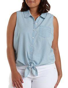 Plus Size Knotted Sleeveless Chambray Shirt: Charlotte Russe #charlottelook #charlotte0to24 #charlotterusseplus