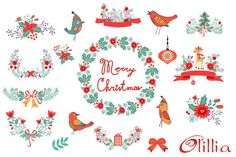 Merry Christmas set by Olillia on Creative Market