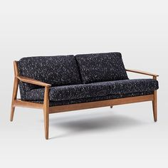 Mathias Mid-Century 2 Seater Sofa, Linen Weave, Regal Blue at West Elm - Loveseats - Couches - Living Room Furniture Wood Frame Couch, Wood Sofa, Mid Century Sofa, Mid Century Furniture, Hamilton Sofa, Oversized Furniture, Sofa Couch, Couches, Leather Loveseat