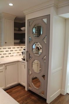 kitchen pantry door gray mirrored octagon refrigerator door over the door kitchen pantry storage Refrigerator Makeover, Paint Refrigerator, Painted Fridge, U Shaped Living Room, My Living Room, Octagon Mirror, Door Design, House Design, Kitchen Pantry Storage
