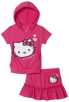 Hello Kitty Girls 2-6x Skirt Active Set with Gel Studs $17.99 girls-athletic-clothing-sets