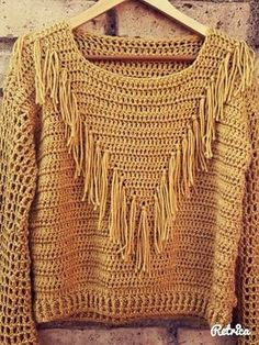 New crochet jacket boho shirts 23 ideas Crochet Poncho With Sleeves, Crochet Jacket, Crochet Cardigan, Crochet Shawl, Poncho Sweater, Débardeurs Au Crochet, Crochet Woman, Crochet Fashion, Diy Fashion