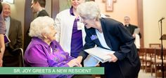Sr. Joy greets a resident at @St. Clare Commons  #SylvaniaFranciscans