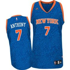 Carmelo Anthony Authentic In Blue Adidas NBA New York Knicks Crazy Light #7 Men's Jersey