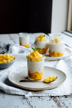 toasted coconut panna cotta with mango, mint, & pineapple
