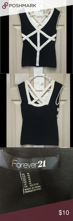Forever 21 Top Black and white geometric design. Never worn. Size medium. Forever 21 Tops