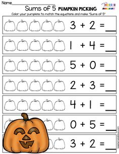 October Math and Literacy Pack - FREEBIES — Keeping My Kiddo Busy PUMPKIN ADDITION - Sums of five kindergarten and first grade fall themed worksheets - pumpkins and adding - no prep first grade math centers for October try FREE activities First Grade Addition, Centers First Grade, Math Addition, Math Centers, Kindergarten Addition, Kindergarten Activities, Teaching Math, Free Activities, Math Math