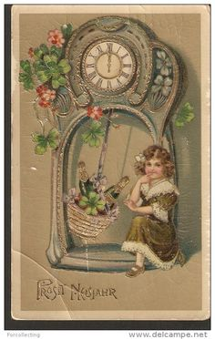 a180. SB Germany New Year antique gilded postcard child girl clock illustration - 1900-1910 pass Riga post in 1910
