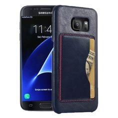 [USD2.63] [EUR2.35] [GBP1.89] Leather Case Back Shell Cover with Holder & Card Slot for Samsung Galaxy S7 / G930(Dark Blue)