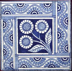 Aesthetic Movement tile - Blue Daisy Aesthetic Movement Nature Tile ref Daisy Blue from Pilgrim Tiles Tile Art, Mosaic Art, Mosaic Tiles, Stencil Painting, Ceramic Painting, Kind Of Blue, Blue And White, Tiles For Sale, Art Nouveau Tiles