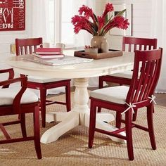 Paint dining table and chairs with Rust-Oleum cranberry, COLOR with white seat pad.I could paint my kitchen table and chairs! Painted Dining Room Table, Red Dining Chairs, Oak Dining Sets, Pedestal Dining Table, Dining Table Design, Kitchen Chairs, Dining Room Furniture, Table And Chairs, Red Chairs