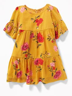 Old Navy Baby Tiered Floral-Print Crepe Dress For Baby Yellow Floral Size M Baby Dress Design, Baby Girl Dress Patterns, Frock Design, Little Girl Dresses, Girls Dresses, Toddler Dress, Toddler Outfits, Kids Outfits, Toddler Summer Clothes