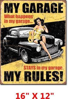 Hot Rod Pin Up Gal Garage Metal Vtg Sign Garage Rules Shop Man Cave Gift USA