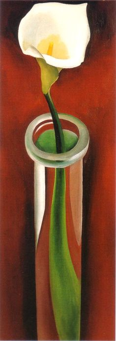 Georgia O'Keeffe- Calla Lily in Tall Glass.  Art Experience NYC  www.artexperiencenyc.com/social_login/?utm_source=pinterest_medium=pins_content=pinterest_pins_campaign=pinterest_initial