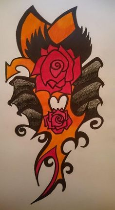 2H pencil.sharpie and clolours,red,orange and black. tattoo