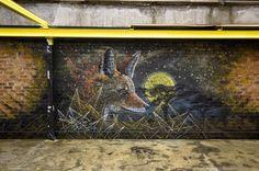 Stunning Violent Animal Street Art by Sonny Sundancer.|CutPasteStudio| Illustrations, Entertainment, beautiful,creativity, Art,Artist,Artwork, drawings, Paintings, Vibrant Color, street art, graffiti art, murals.