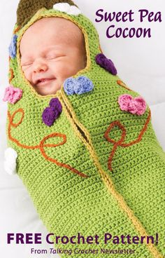 Sweet Pea Cocoon Download from Talking Crochet newsletter. Click on the photo to access the free pattern. Sign up for this free newsletter here: AnniesNewsletters.com.