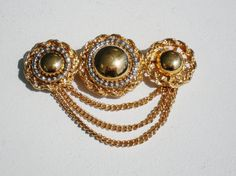 Vintage Brooch Pin Dangling Chain Gold & Silver by BagsnBling, $10.99