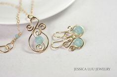 Gold Blue Green Swarovski Crystal Earrings Wire Wrapped