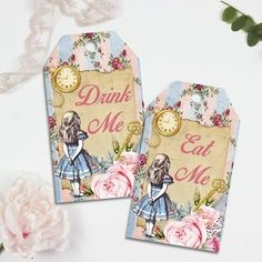 Alice in Wonderland Drink & Eat Me Tags, Toppers, Wedding Favors, Tea Party
