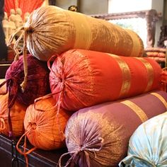 Decorative Indian Silk, Sari & Velvet Bolster Pillows - Tara Home