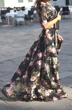 Every ladies and girls should own on bohemian style maxi dress, it will never out of fashion. This floral print chiffon long dress will make you charming and stand out. With this in summer will also m