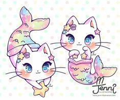 So pretty Kawaii draw Source: Mermaid Cartoon, Mermaid Cat, Cute Mermaid, Mermaid Tails, Cute Animal Drawings, Kawaii Drawings, Kawaii Cat, Kawaii Anime, Gato Pusheen