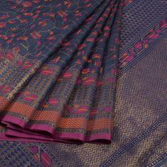 Handwoven Greyish Blue Banarasi Kadhwa Tussar Silk Saree With Meenkari Design 10013344 - AVISHYA.COM Brocade Saree, Silk Saree Kanchipuram, Sari Silk, Indian Fashion Trends, Indian Designer Outfits, Indian Outfits, Traditional Sarees, Traditional Fashion, South Indian Sarees