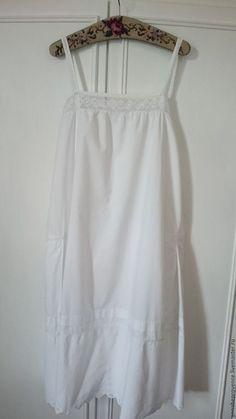 Одежда. Ярмарка Мастеров - ручная работа. Купить Старинная ночная рубашка на бретелях Хлопок 100%. Handmade. Белый, прованс