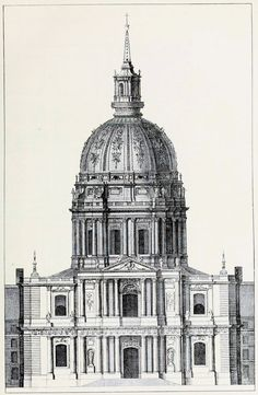 Elevation of Mansart's Dome of the church of the Invalides, Paris