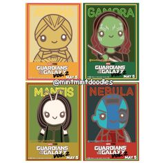 My ladies  I've had so much fun doodling these characters ❤️ Can't wait to introduce them to the little ladies in my life  #ayesha #gamora #mantis #nebula #gotg #gotgvol2 #guardiansofthegalaxy #guardiansofthegalaxyvol2 #jamesgunn #mintmintdoodles