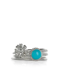 Sterling Silver 3 x Turq and Flower Stacking Rings