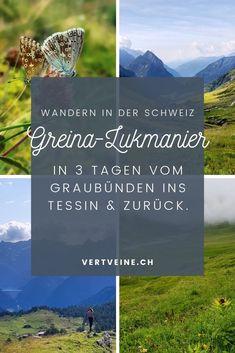 Diese wunderschöne Wanderung führt quer durch die bekannte Greina-Ebene durch einsame Täler über verlassene Pässe – einfach atemberaubend schön! In welchen Hütten man dabei übernachtet, was es einzupacken gilt und wo es guter Kaffee & Kuchen gibt, beschreibe ich im Detail auf vertveine.ch/greina-lukmanier Switzerland, Travel Destinations, Hiking, Mountains, Places, Nature, Travelling, Outdoor, Wanderlust Travel