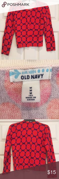 Old Navy cardigan.  Size girls M Girls cardigan size medium. Great condition. Old Navy. Orange multicolored worn one time. Old Navy Shirts & Tops Sweaters