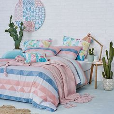 A great way to introduce colour into the bedroom, the Desert Skies quilt cover set is great for something fresh and fun. How fantastic are the matching European pillowcases with the hand painted cacti! Bedroom Color Schemes, Bedroom Themes, Bedroom Sets, Bedroom Decor, Bedroom Inspo, Master Bedroom Interior, Linen Bedroom, Linen Bedding, Awesome Bedrooms