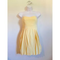 Baby yellow strapless dress Size = small, baby yellow, zipper and clasp located on the back, strapless, can be worn for any occasion! All items ship 1-2 days after purchased, ask to bundle for a discount ❤️ Dresses Strapless