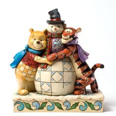 """Winnie the Pooh and Tigger are getting their holiday hugs in early this year! """"WINTER HUGS"""" - WINNIE THE POOH AND TIGGER WITH SNOWMAN FIGURINE (Jim Shore Disney Traditions)"""