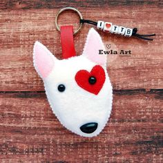 felt heart dog keychain