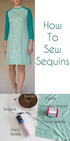 Fantastic 50 Beginner sewing projects tips are offered on our site. look at this and you wont be sorry you did. Sewing Hacks, Sewing Tutorials, Sewing Patterns, Sewing Tips, Techniques Couture, Sewing Techniques, Diy Clothing, Sewing Clothes, How To Sew Sequins