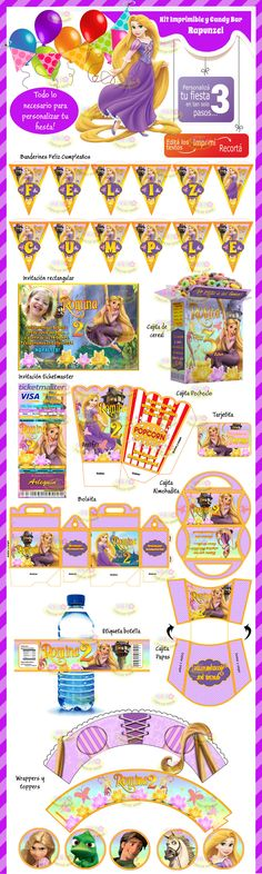 (8) Kit Imprimible Y Candy Bar Rapunzel Enredados Invitaciones - $ 44,99 en MercadoLibre